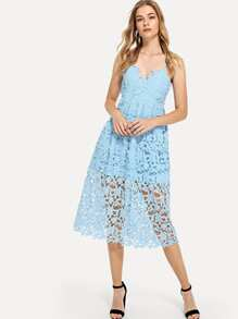 Lace Hollow Out Cami Dress