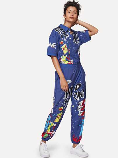 SheIn / Graffiti Print Shirt Detail Jumpsuit