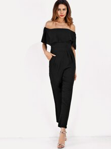 Off-Shoulder Ruffle Jumpsuit