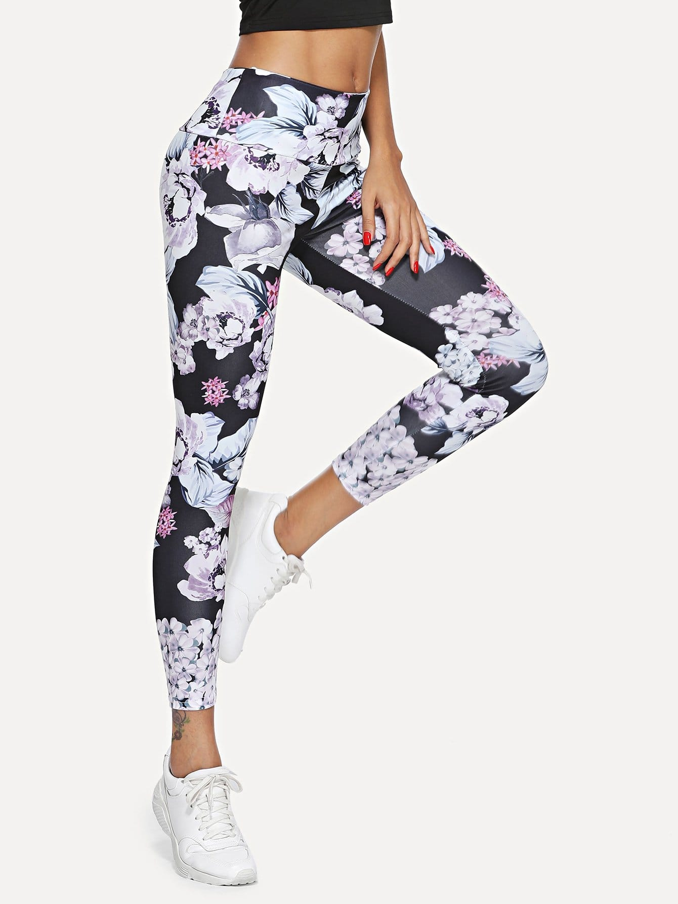 Floral Print Leggings цена 2017