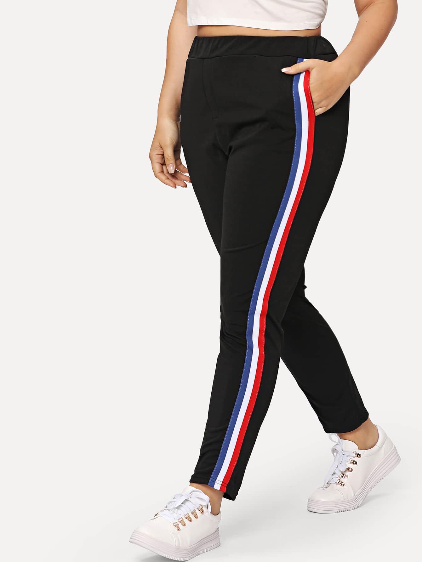 Plus Rainbow Stripe Tape Side Pants
