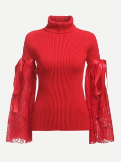 Lace Sleeve Rib Knit Fitted Jumper