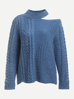 Cutout Neck Mixed Knit Sweater