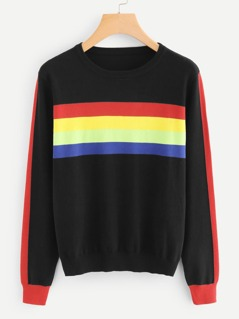 Soft Knit Rainbow Stripe Sweater