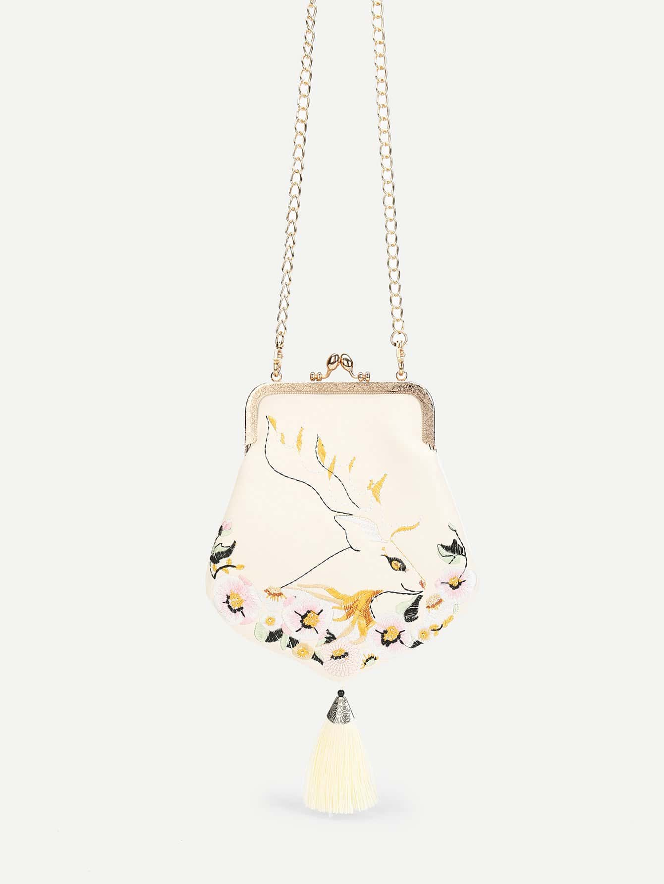 Flower Embroidery Chain Pouch platinor platinor 54550 1p 437