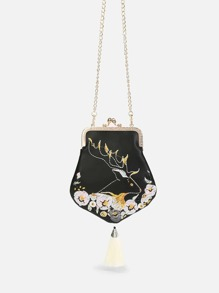 Flower Embroidery Chain Pouch
