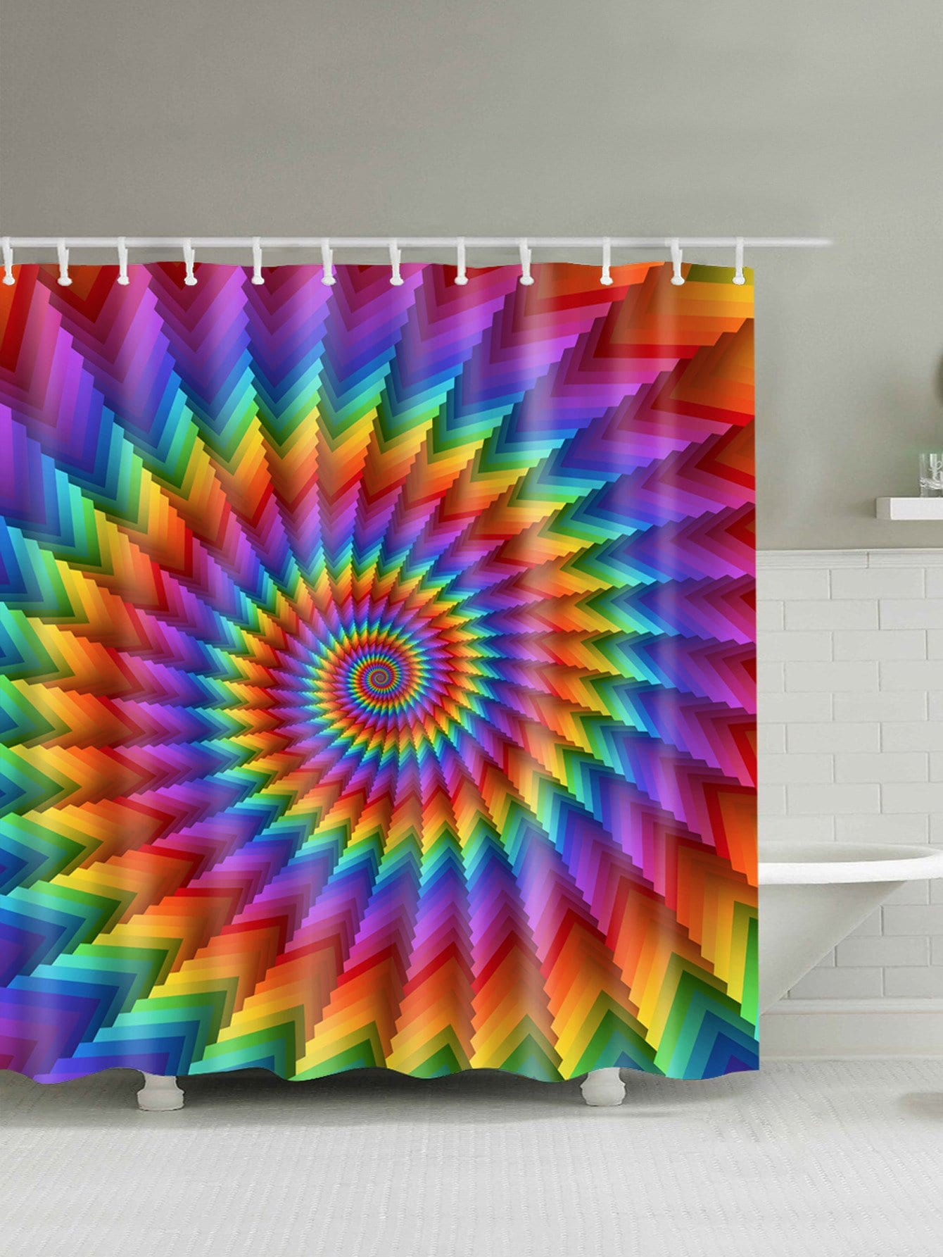 Spiral Tie Dye Shower Curtain With 12pcs Hook