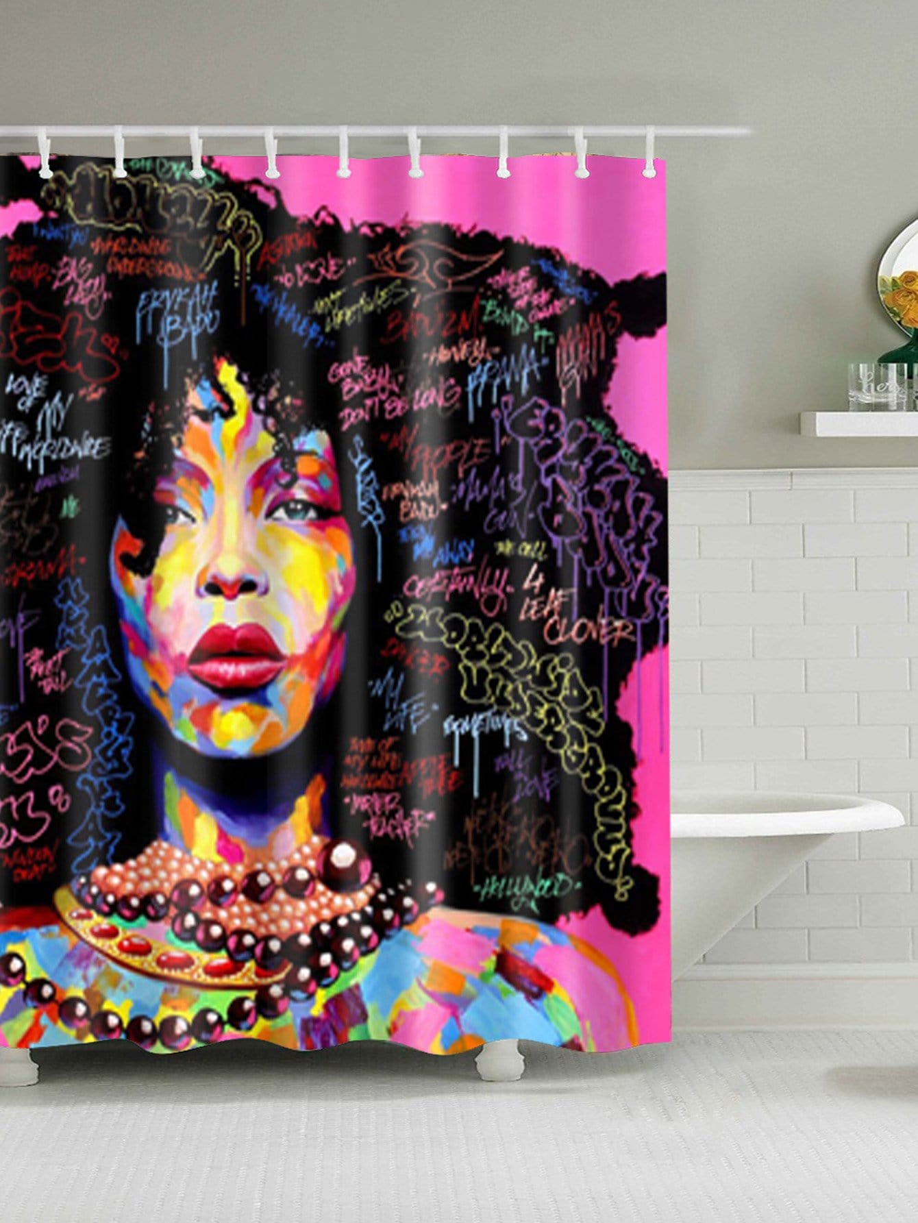 Girl Pattern Shower Curtain With 12pcs Hook afro hair lady immersed in her own world pattern shower curtain