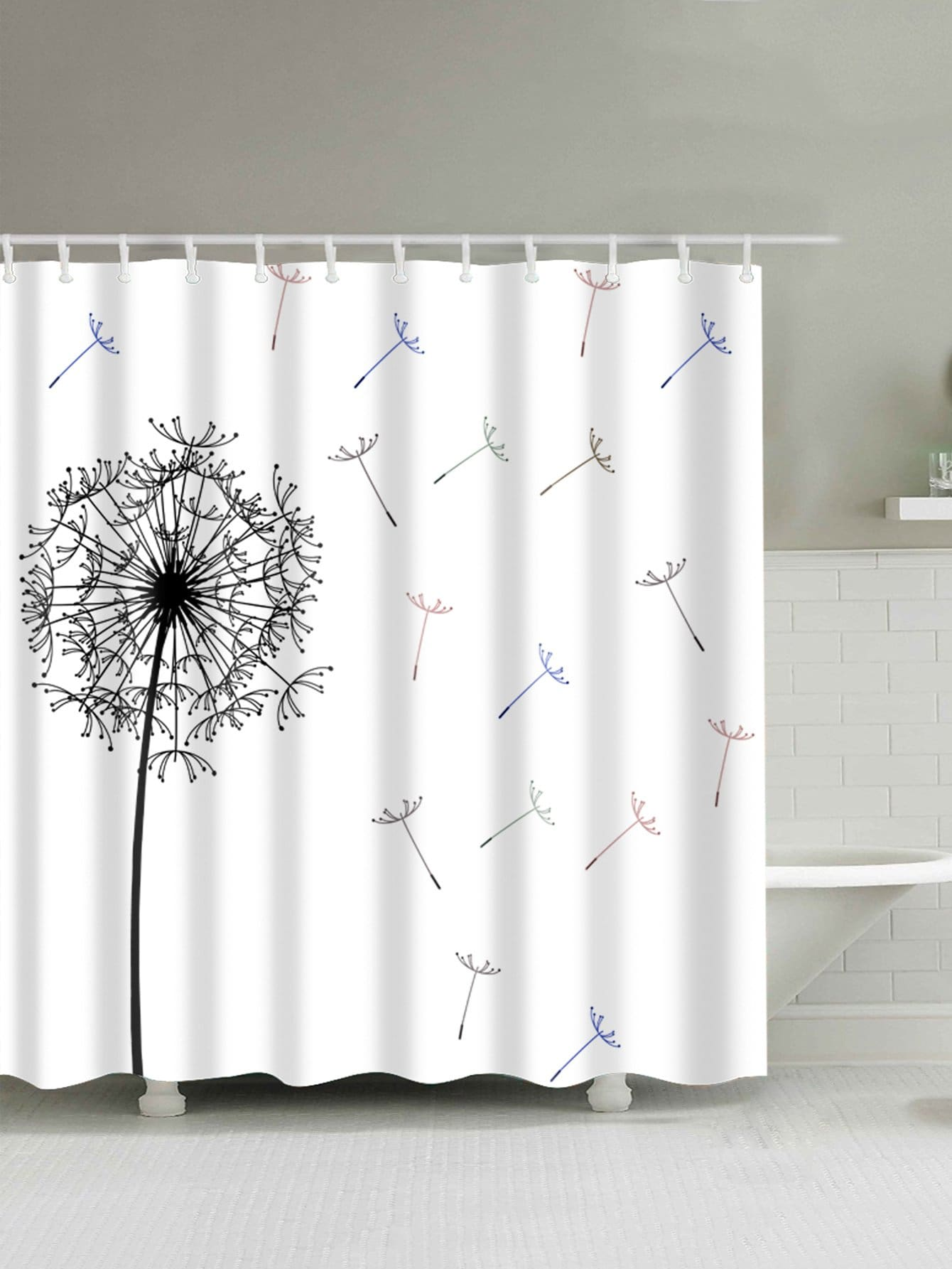 Dandelion Shower Curtain With 12pcs Hook total 12pcs filters