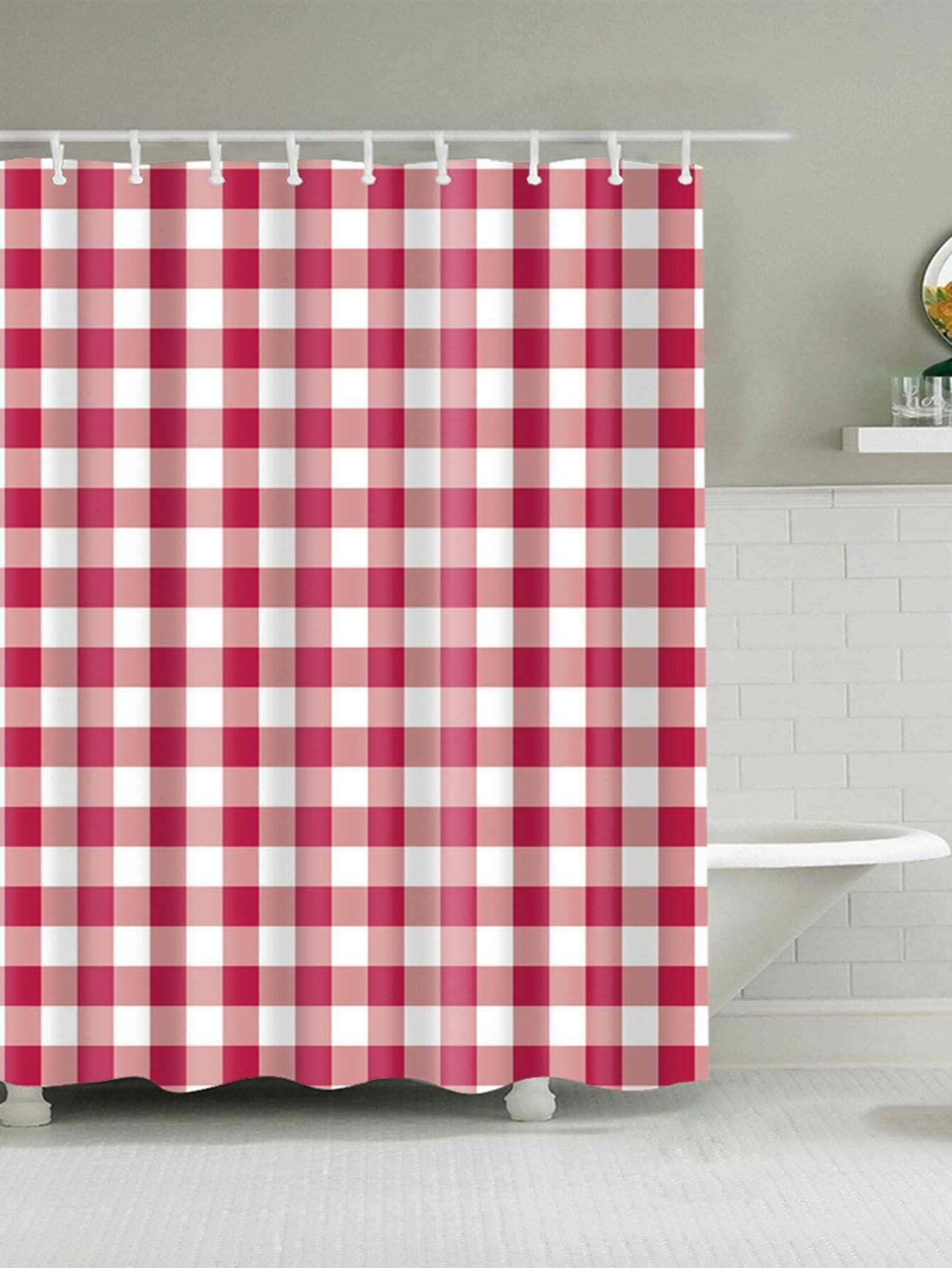 Gingham Shower Curtain With 12pcs Hook total 12pcs filters