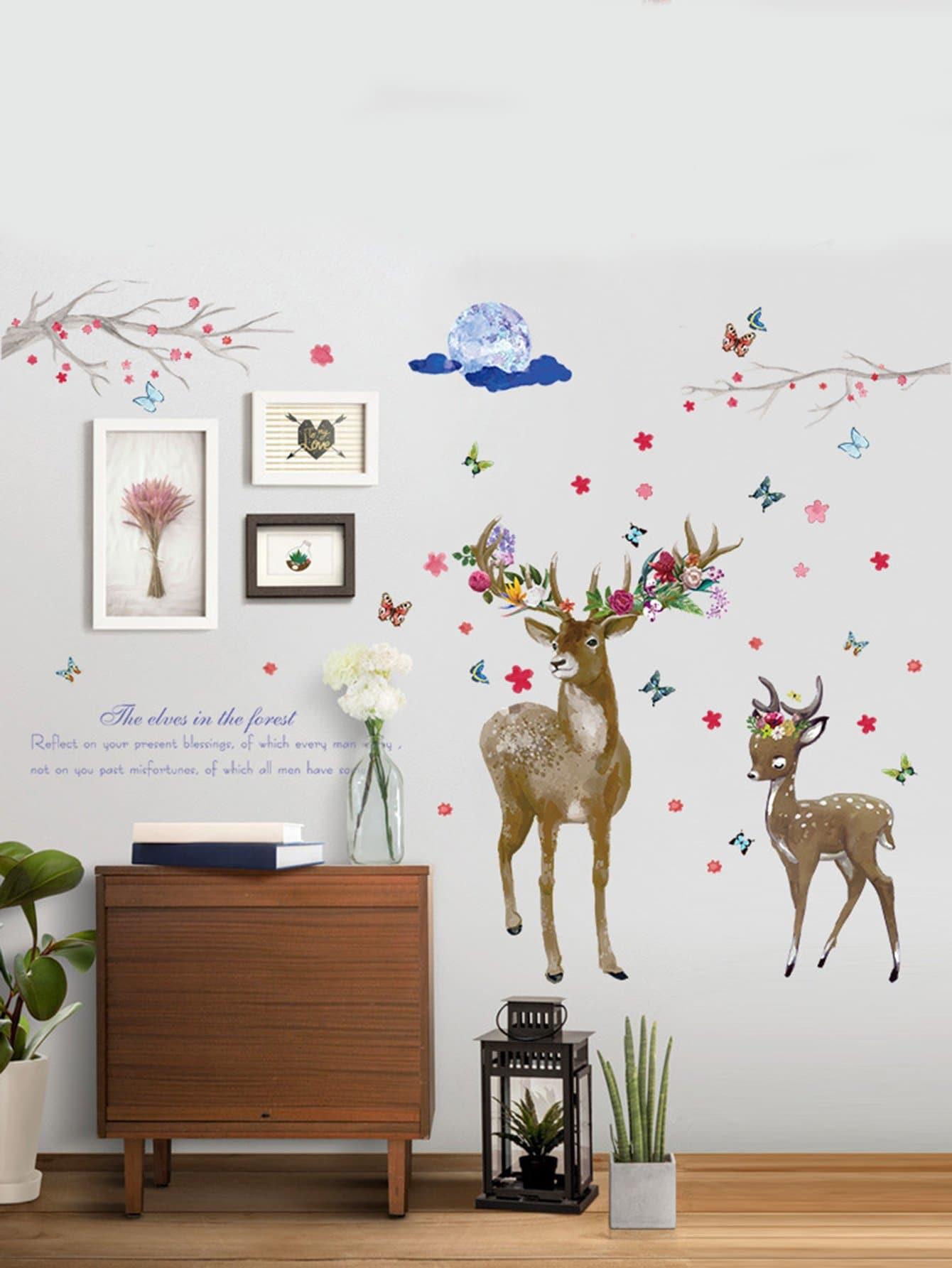 Deer & Flower Wall Sticker все цены