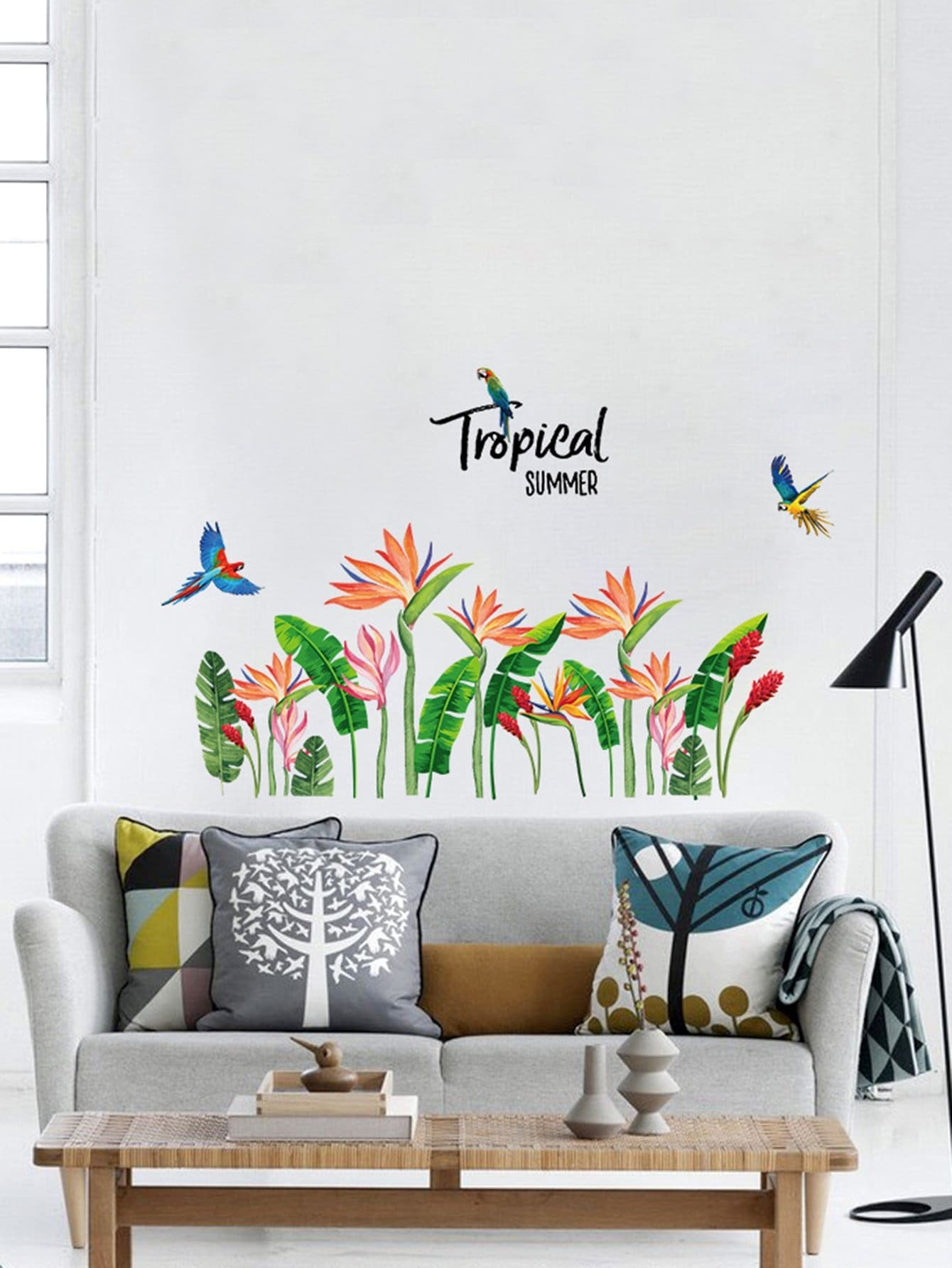 Tropical Leaves Wall Sticker tropical leaves print tapestry