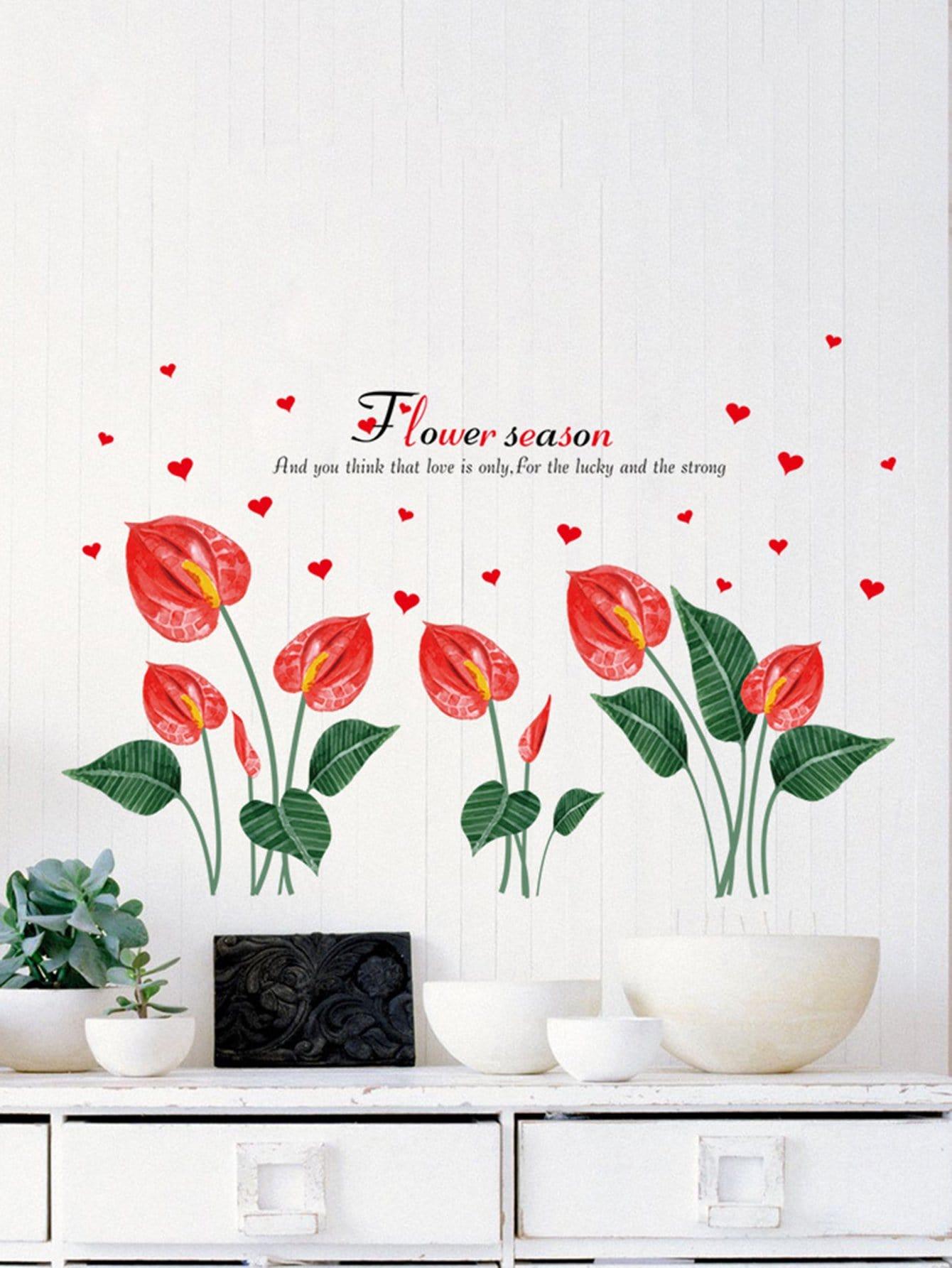 Flower & Heart Wall Sticker все цены