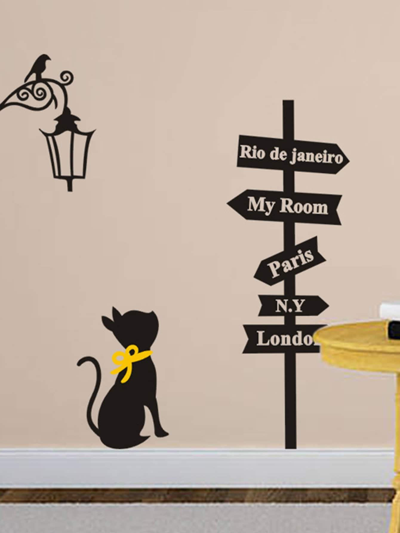 Indicator & Cat Wall Sticker couple cat wall sticker