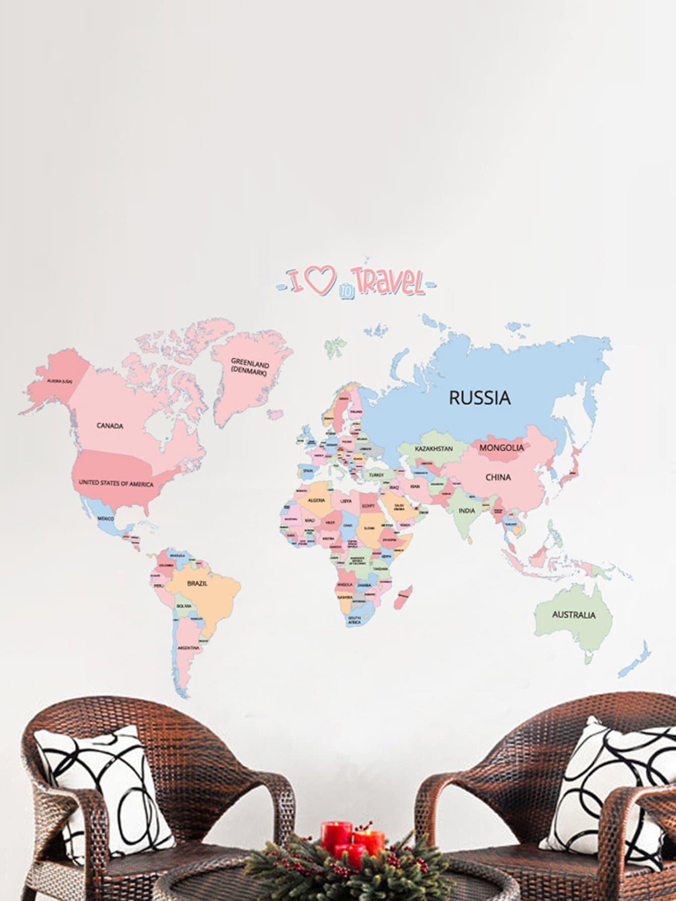 World Map Wall Sticker лонгслив printio girl in colors