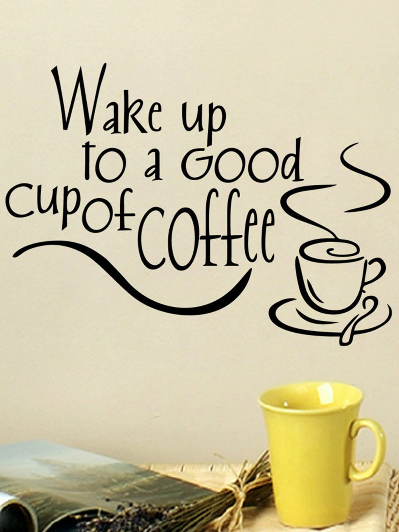 Фото Coffee & Slogan Wall Decal family wall quote removable wall stickers home decal art mural