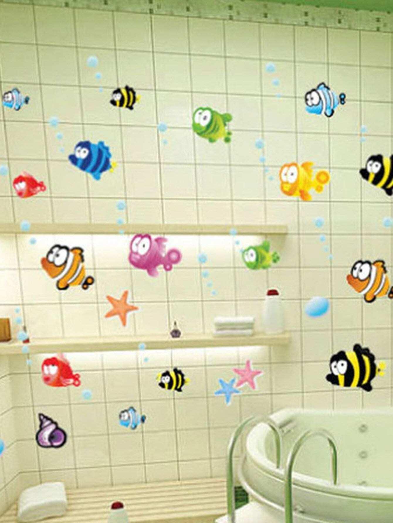 Cartoon Seafish Wall Decal random cartoon ceramic tile decal 1pc