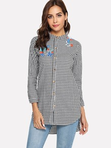 Bird Embroidered Plaid Blouse