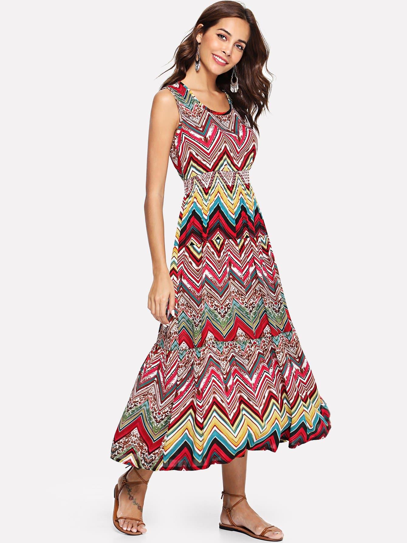 Купить Платье с принтом, Giulia, SheIn