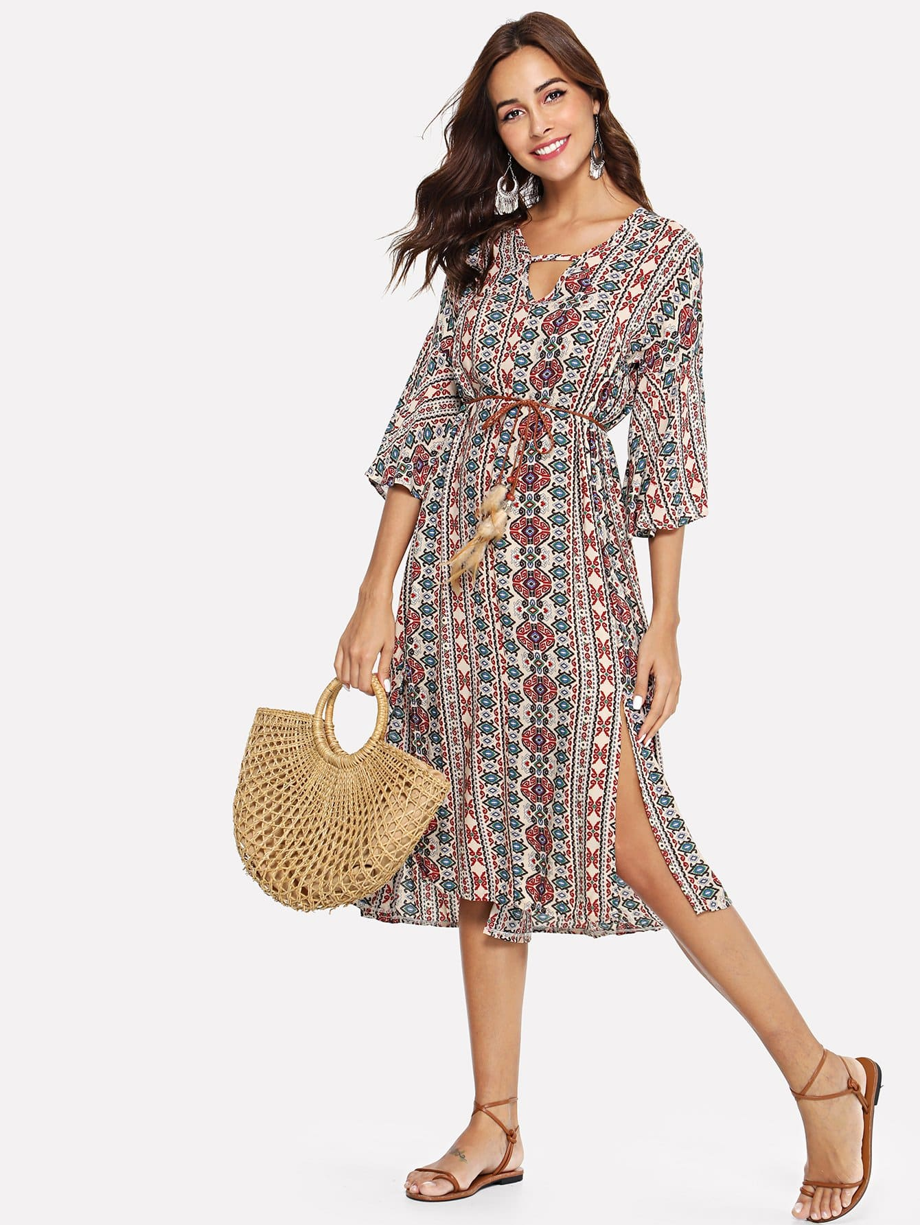 Купить Платье с принтом племя и с разрезами, Giulia, SheIn