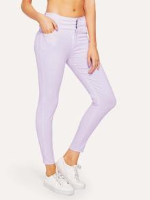 Skinny Button Jeans ROMWE