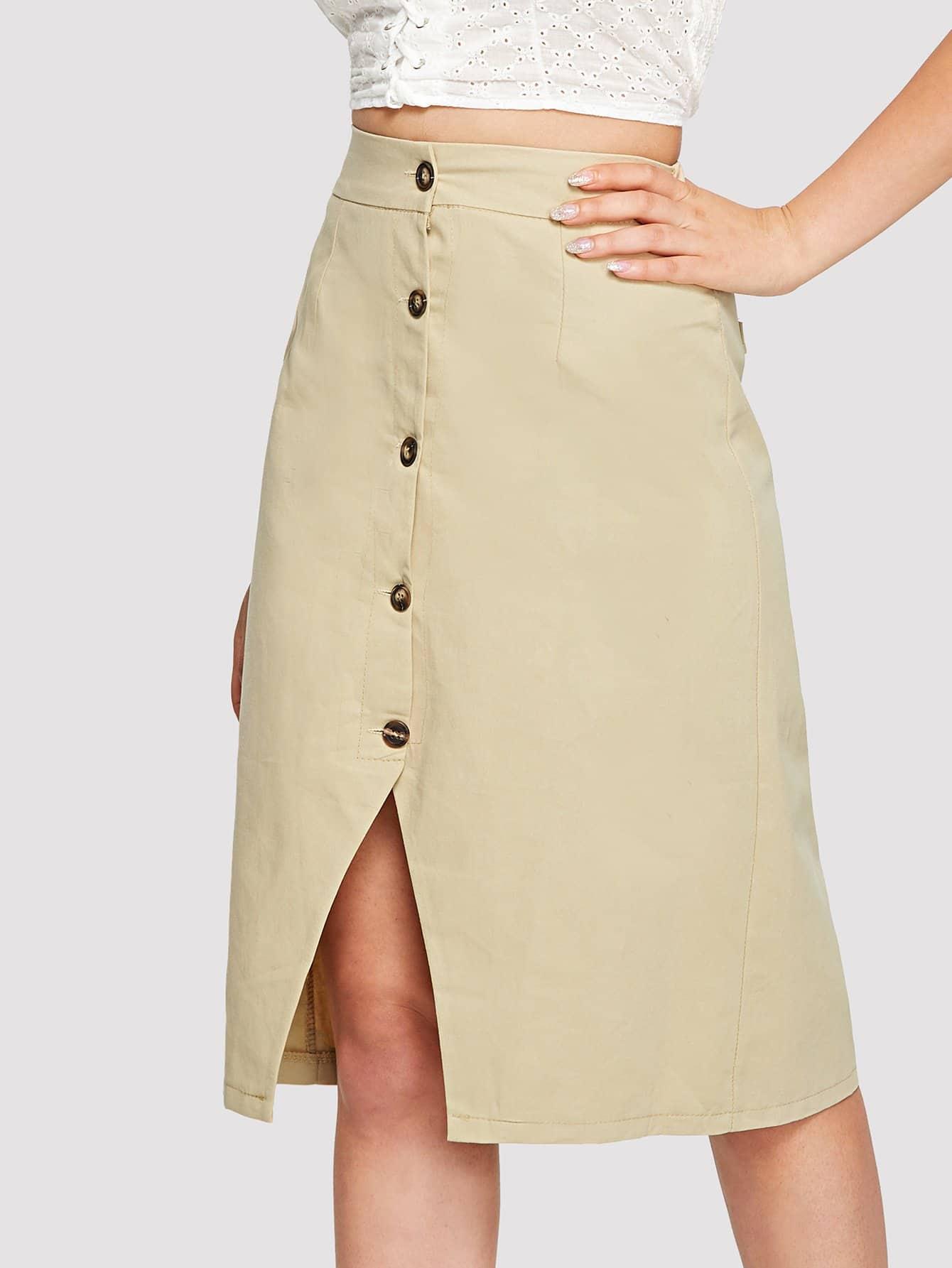 Button Front Split Denim Skirt button front denim suspender skirt