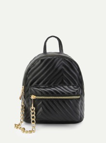 Chevron Textured Chain Linked Backpack