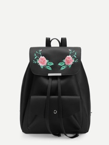 Flower Embroidery Drawstring Backpack