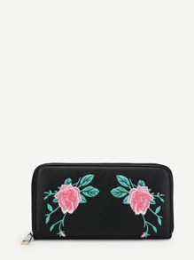 Flower Embroidery Zip-Around Wallet