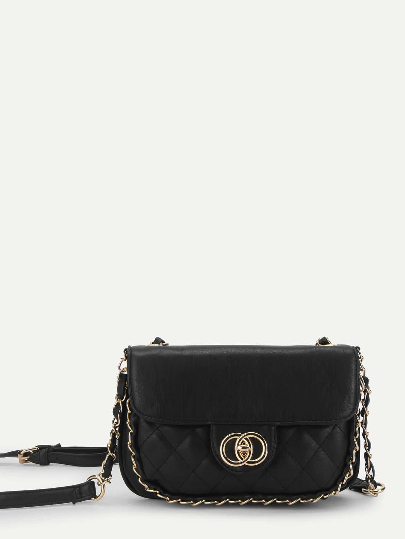 Twist Lock Quilted Crossbody Bag metal lock quilted crossbody chain bag