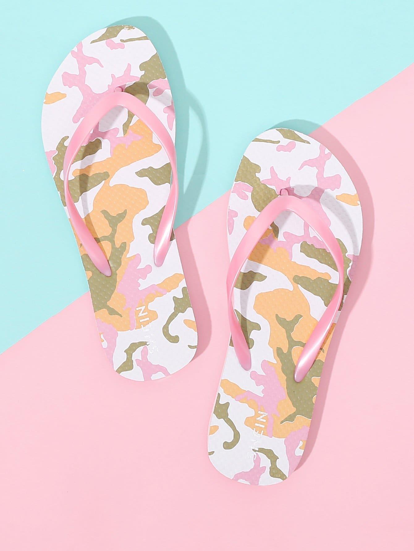 Camo Print Flip Flops