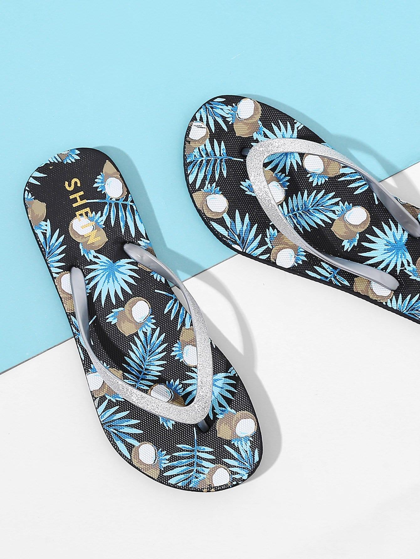 Coconut Print Flip Flops tribal flower print flip flops