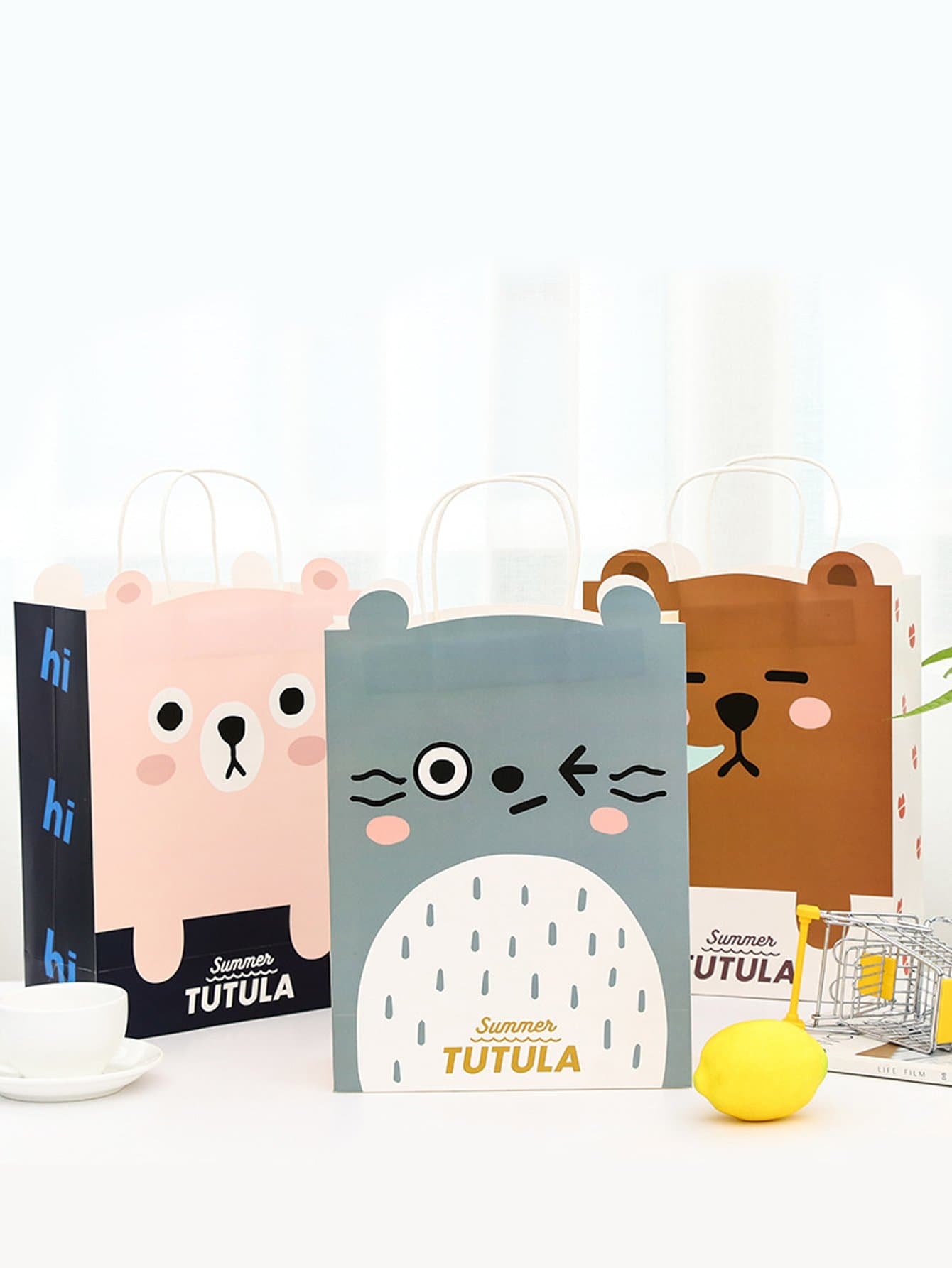 Small Cartoon Bear Paper Bag 3 PCS colorful coated paper clips 80 jumbo 250 small