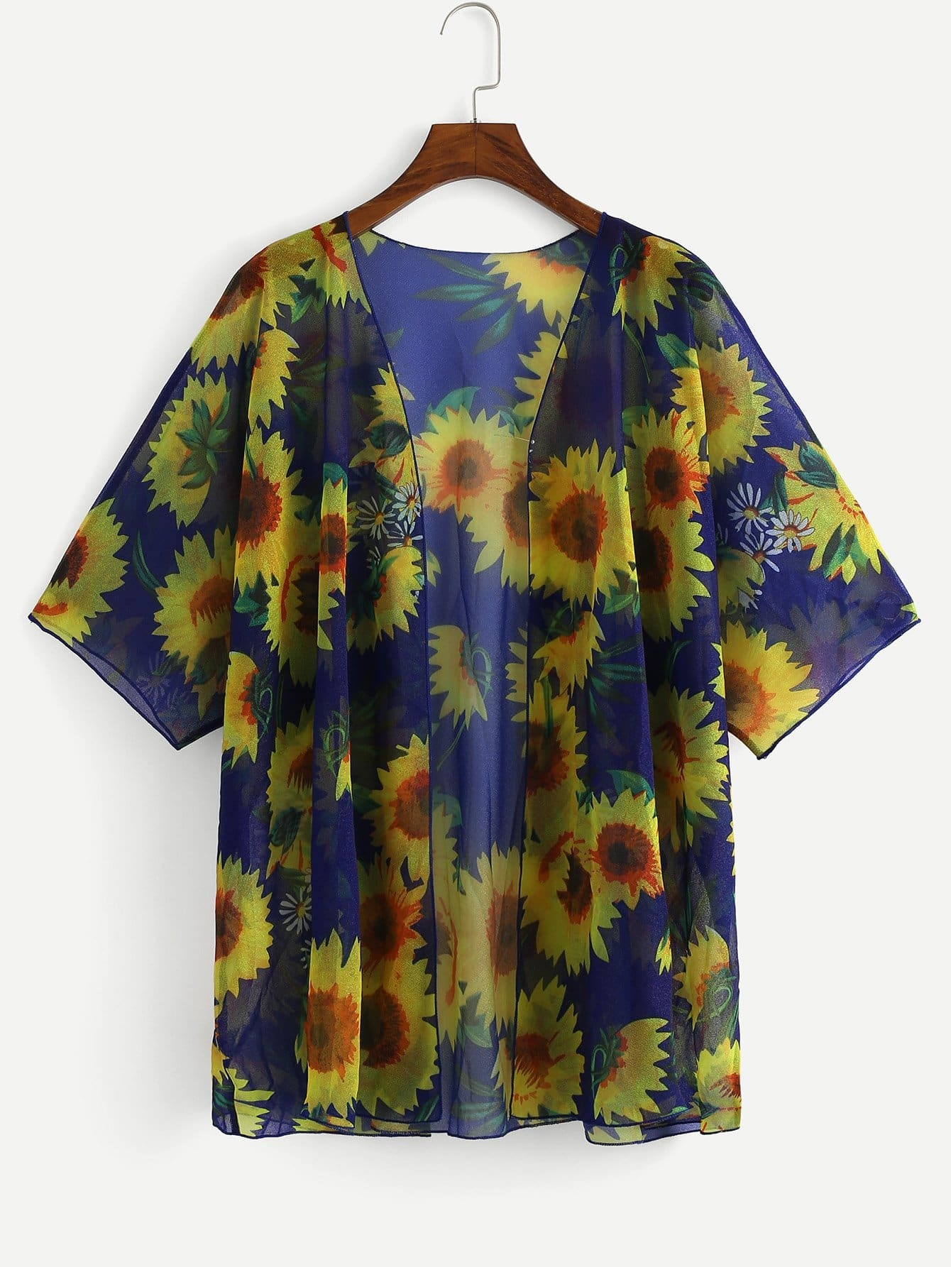 Plus Sun Flower Print Cover-Up