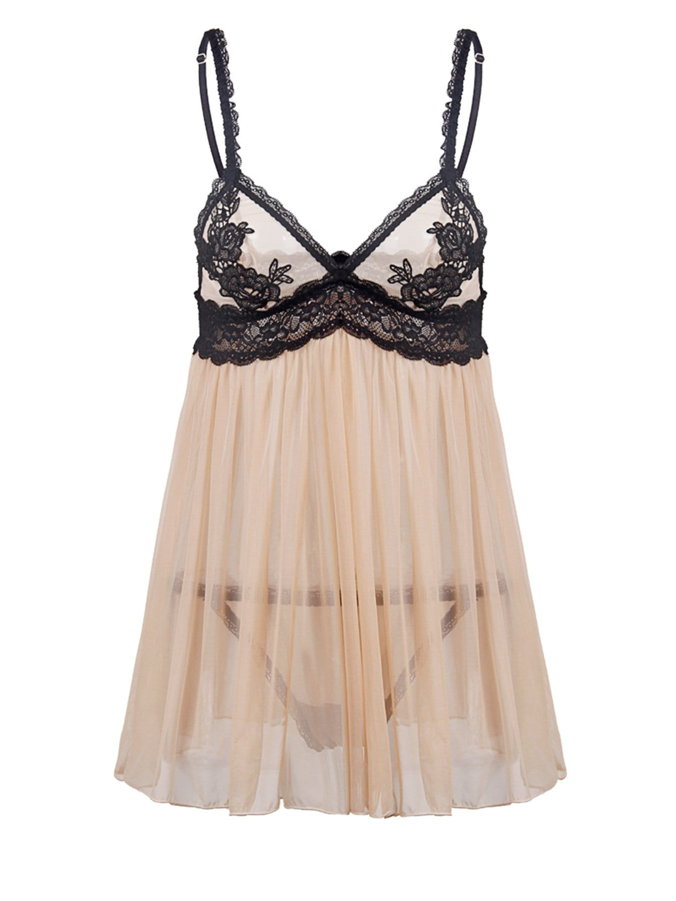 Plus Scalloped Trim Babydoll With Thong