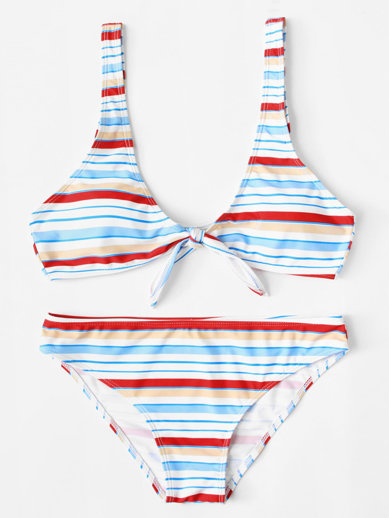 Фото Knot Front Striped Bikini Set checker knot bikini set