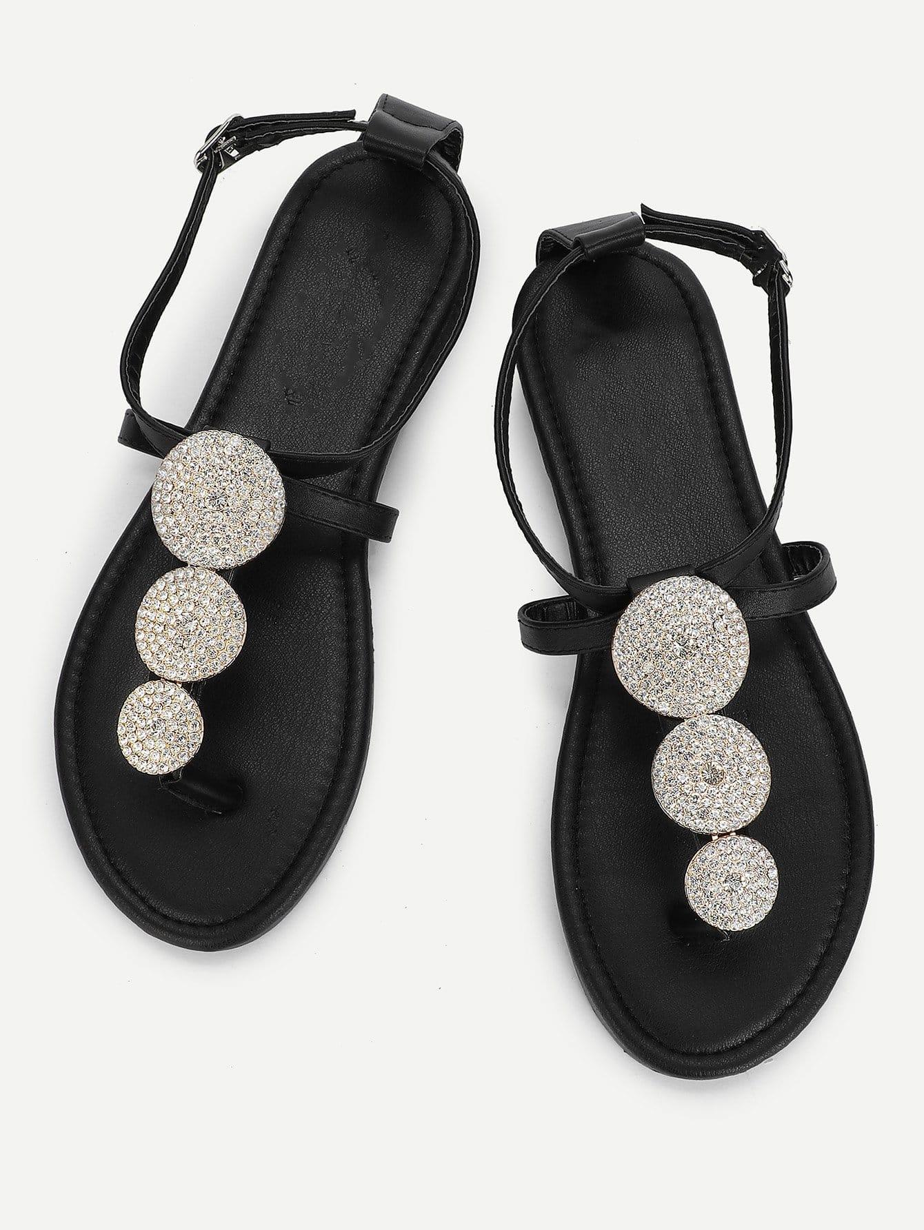 Rhinestone Toe Post Sandals rhinestone design toe post sandals