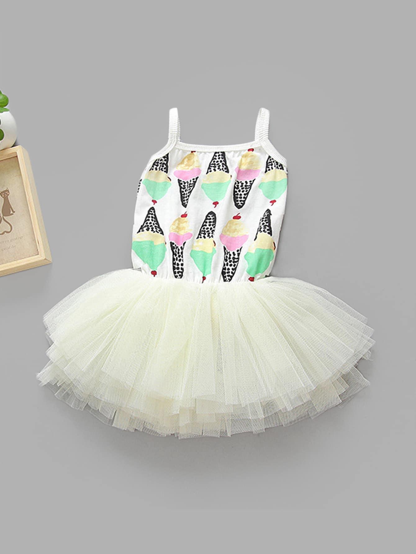 Ice Cream Print Tiered Mesh Dress swan print tiered mesh dress