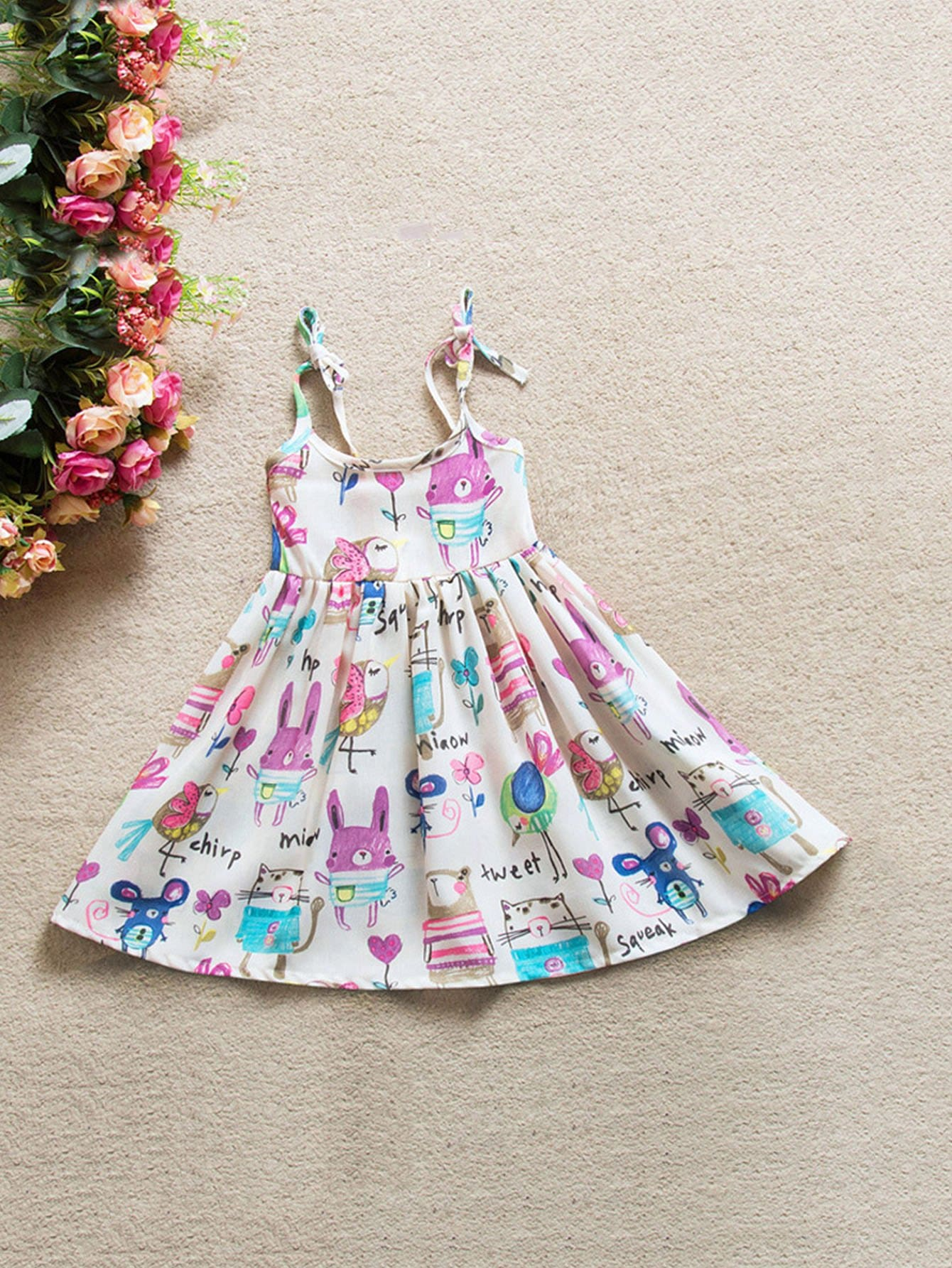 Girls Cartoon Print Tie Strap Dress
