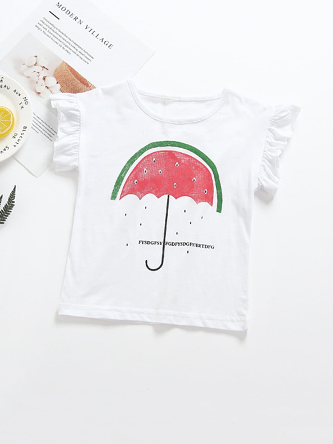 Watermelon Print Frill Trim T-shirt frill trim shirt