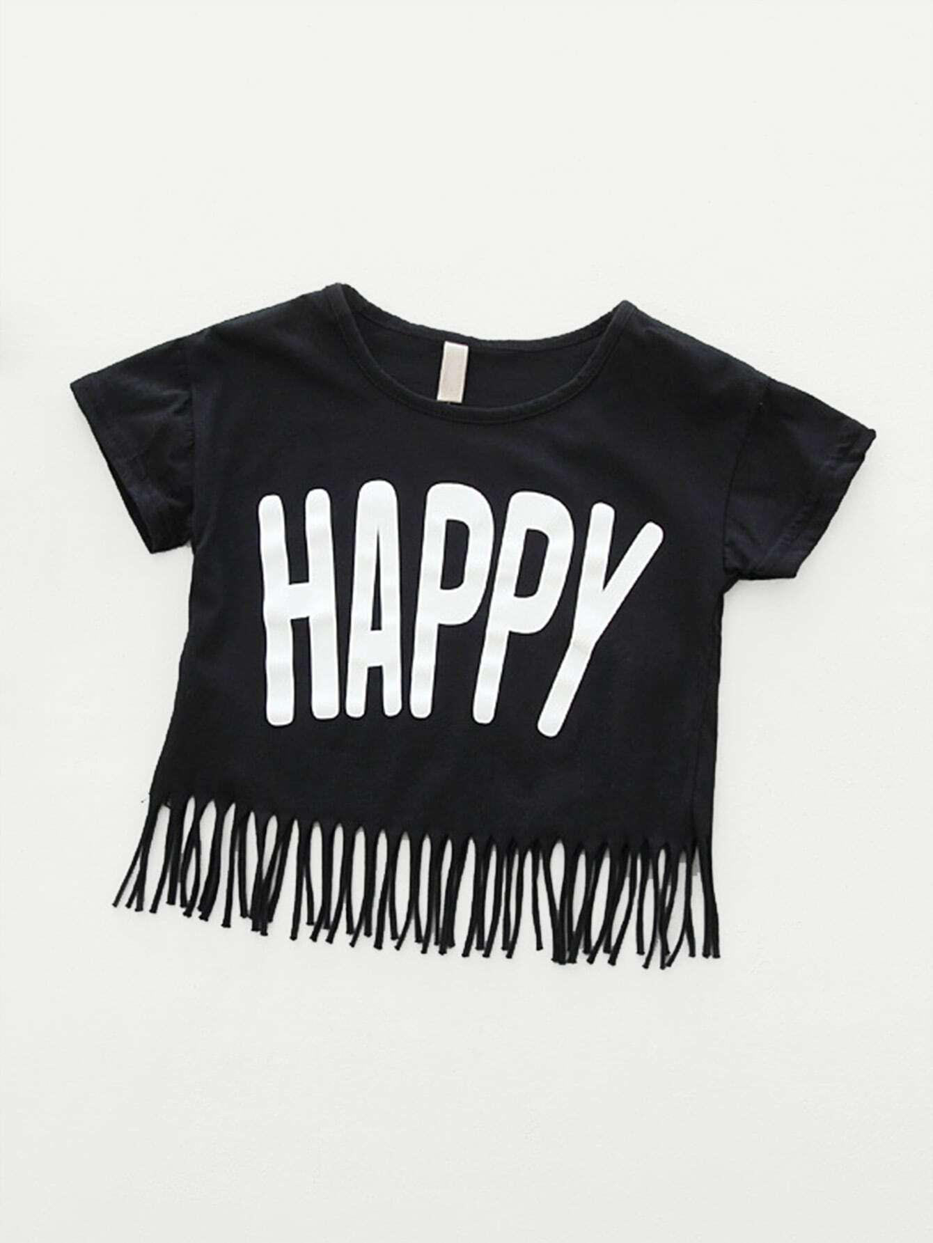 все цены на Girls Letter Print Fringe Hem T-shirt