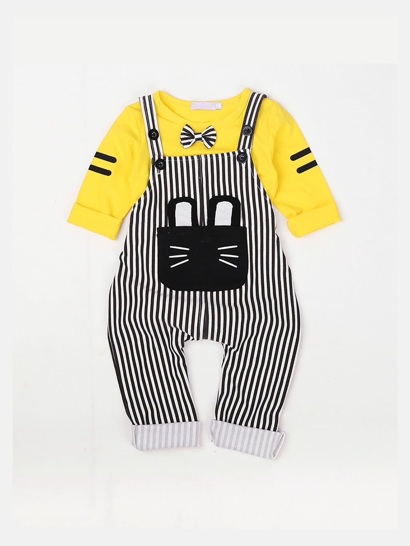 Bow Detail Tee With Striped Overalls bow detail striped dress