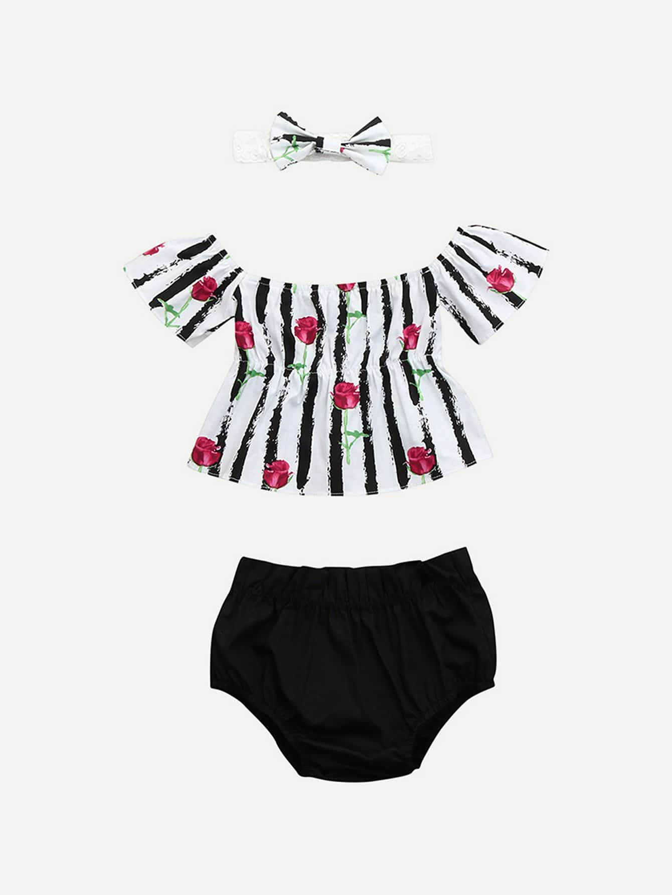 Girls Rose Print Stripe Top With Shorts