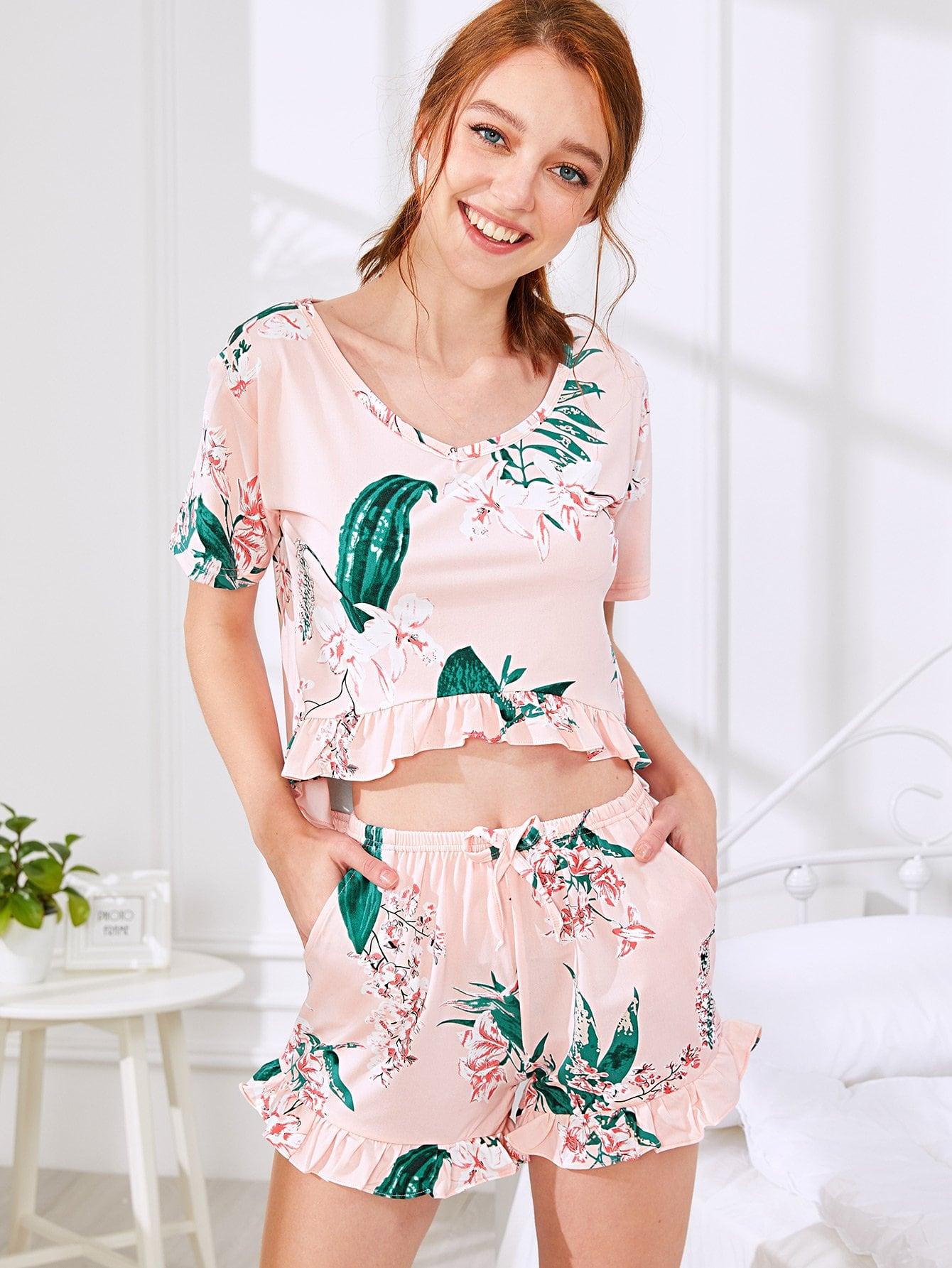 Купить Цветочная печать Ruffle Hem Pajama Set, Poly, SheIn