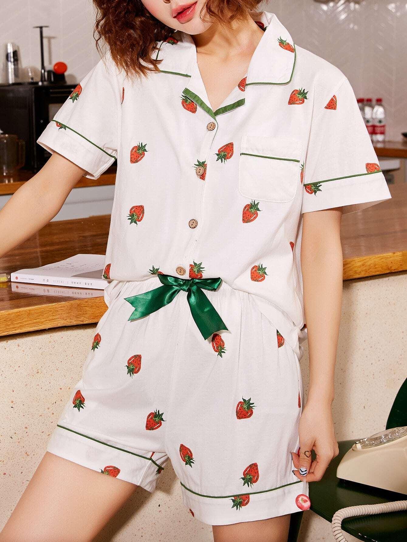 Купить Набор для клубники Print Up Pajama Set, null, SheIn