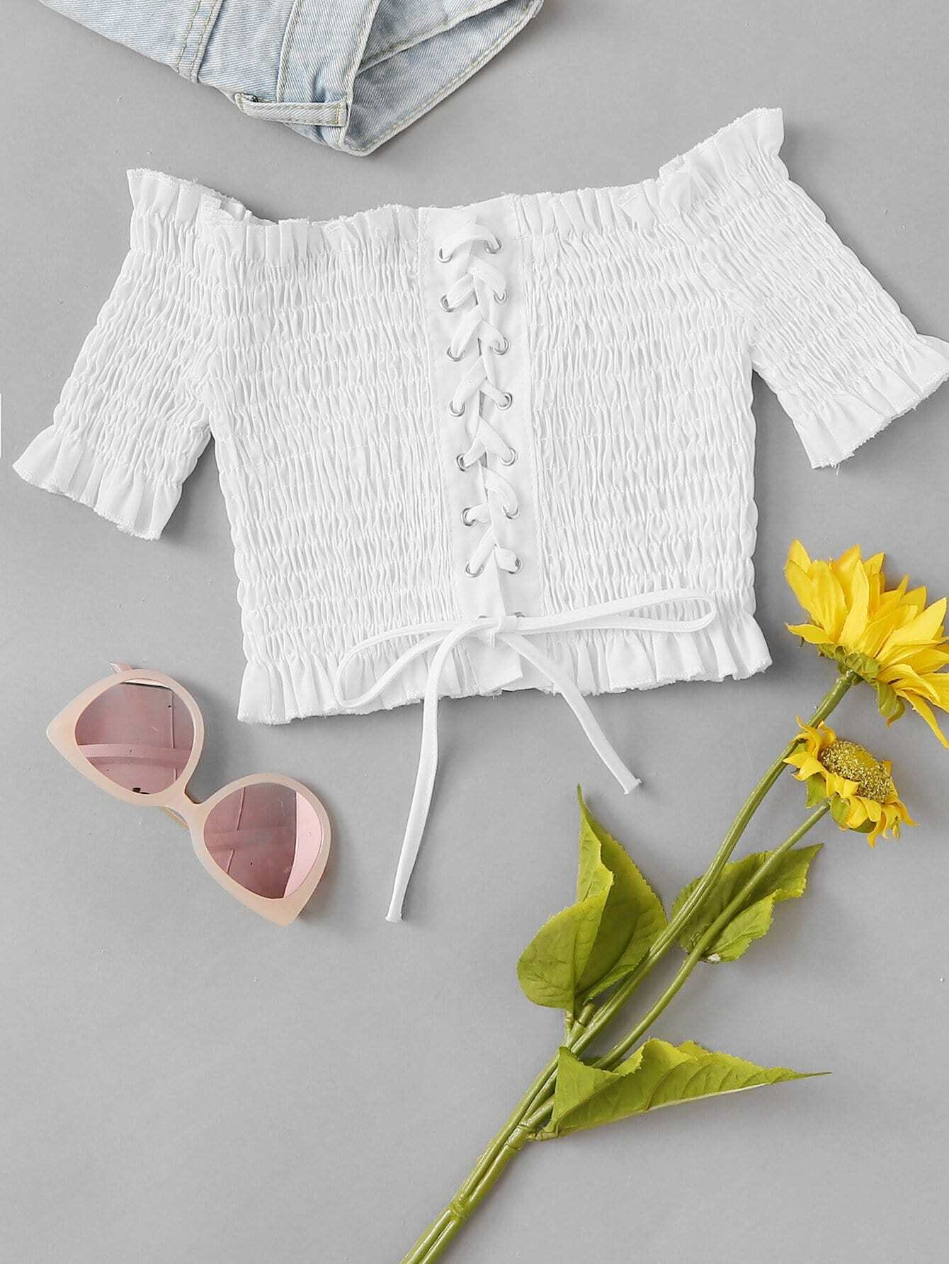 Frill Trim Lace Up Pleated Top цена