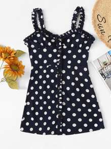 Single Breasted Frill Trim Polka Dot Dress