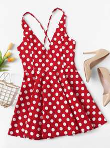 Criss Cross Polka Dot Dress