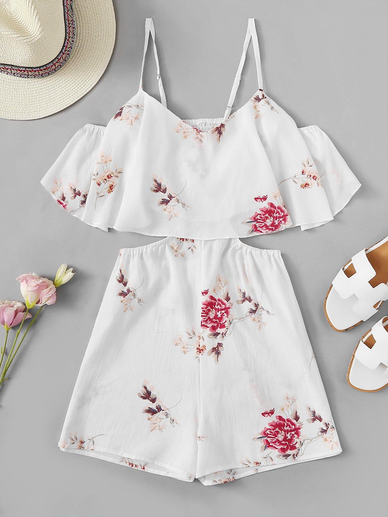 Повседневный Со цветочками с разрезом Белый Комбинезон
