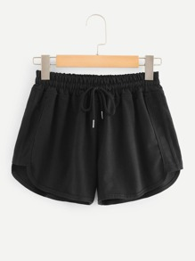 Drawstring Waist Solid Shorts